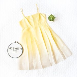 The Limited | 100% Silk Yellow Ombre Pleated Dress